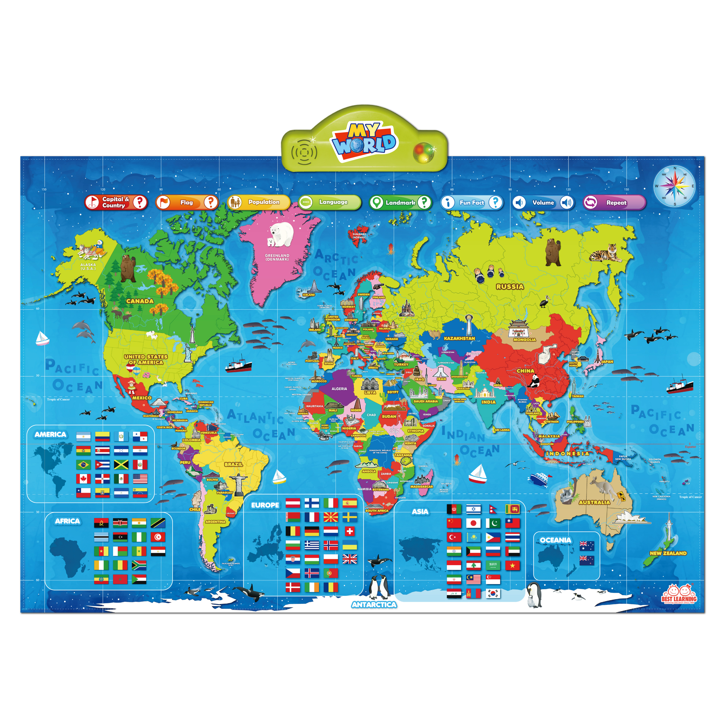 Best learning i poster my world interactive map family choice awards the most valuable interactive touch activated talking map learning has never been so much easy and fun hang on a wall play on the floor or use as a gumiabroncs Gallery